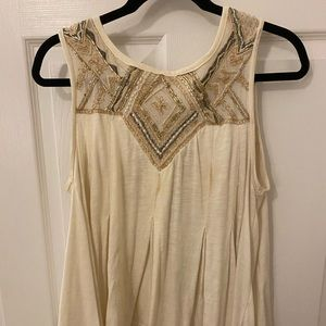 White free people tank with beaded neckline